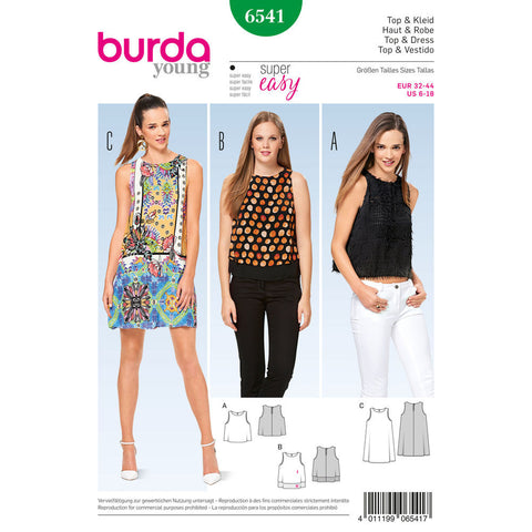 Burda - BD6541 Misses' Top & Dress - WeaverDee.com Sewing & Crafts - 1
