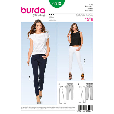 Burda - BD6543 Misses' Skinny Pants / Trousers - WeaverDee.com Sewing & Crafts - 1