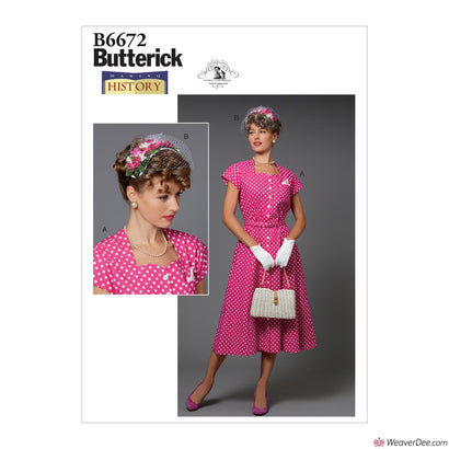 Butterick Pattern B6672 Misses' Dress &  Hat - 1940s Costume