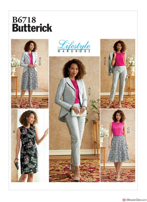Butterick Pattern B6718 Misses' Jacket, Dress, Top, Skirt, & Trousers