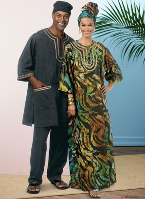 Butterick Pattern B6748 Misses'/Men's Tunic, Caftan, Trousers, Hat & Head Wrap
