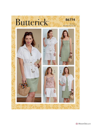 Butterick Pattern B6774 Misses' Jacket, Belt, Dress, Top & Shorts