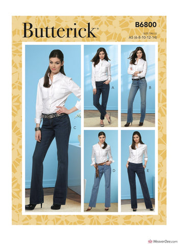 Butterick Pattern B6800 Misses' Four-Pocket Jeans & Trousers