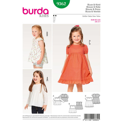 Burda - BD9362 Child Dress, Blouse & Skirt - WeaverDee.com Sewing & Crafts - 1