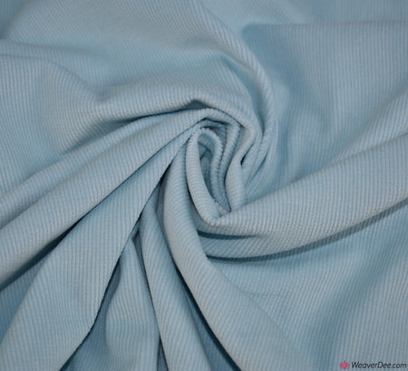 Cotton Stretch Needlecord Fabric - Baby Blue