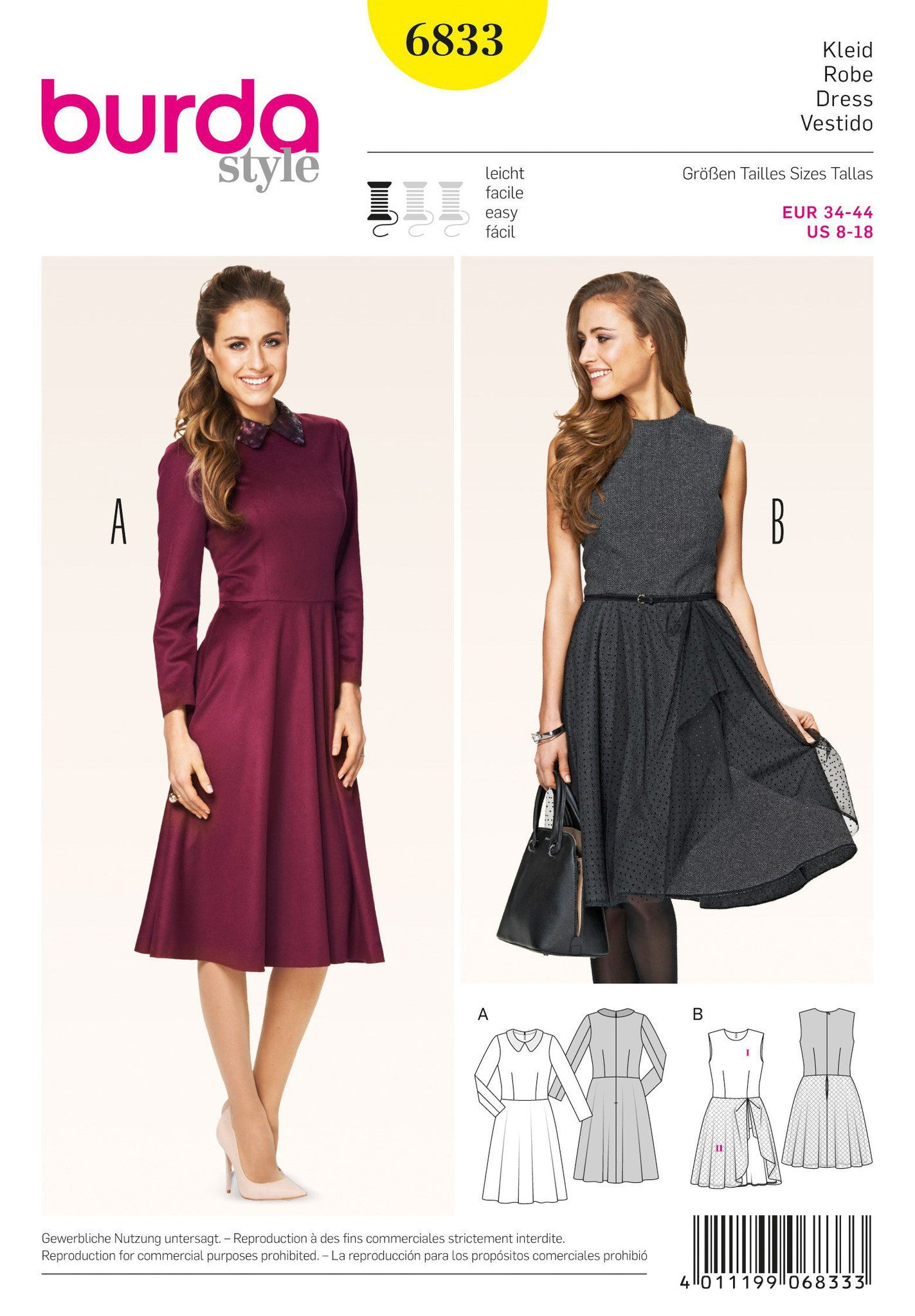 Burda - BD6833 Misses Dress - WeaverDee.com Sewing & Crafts - 1
