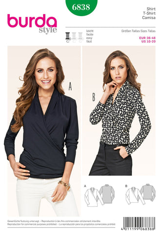 Burda - BD6838 Misses Top - WeaverDee.com Sewing & Crafts - 1