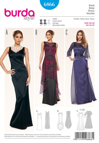 Burda - BD6866 Misses Evening Dress - WeaverDee.com Sewing & Crafts - 1