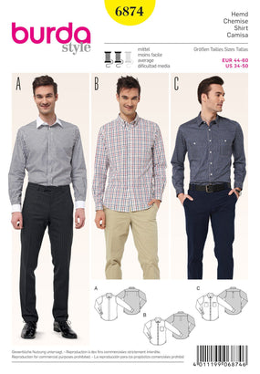 Burda - BD6874 Mens' Shirts - WeaverDee.com Sewing & Crafts - 1