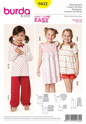 Burda - BD9432 Girls' Pyjamas - WeaverDee.com Sewing & Crafts - 1