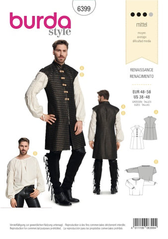 Burda Pattern BD6399 Men's Renaissance Shirt Costume