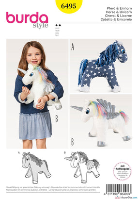 Burda Pattern BD6495 Stuffed Animal Horse / Unicorn