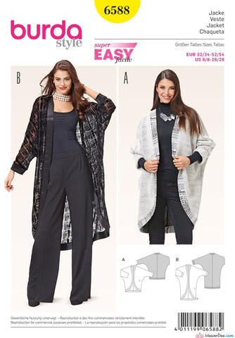 Burda - BD6588 Kimono Sleeve Jacket | EASY - WeaverDee.com Sewing & Crafts - 1
