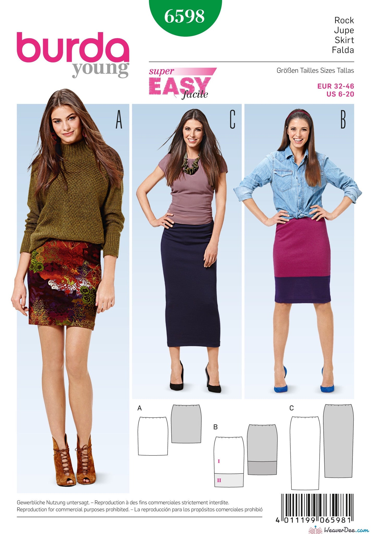 Burda - BD6598 Narrow Skirt | EASY - WeaverDee.com Sewing & Crafts - 1