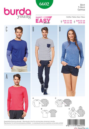 Burda - BD6602 Unisex T-Shirts / Sweaters / Hoodies (EASY) - WeaverDee.com Sewing & Crafts - 1