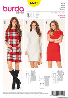 Burda - BD6609 Shift Dress | EASY - WeaverDee.com Sewing & Crafts - 1