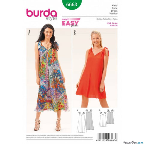 Burda - BD6663 Misses Dress | Easy - WeaverDee.com Sewing & Crafts - 1