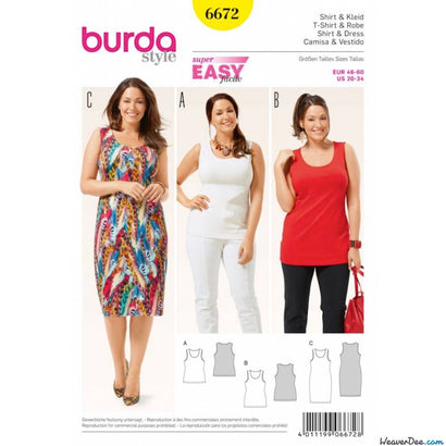 Burda - BD6672 Womens' Shirt & Dress - WeaverDee.com Sewing & Crafts - 1