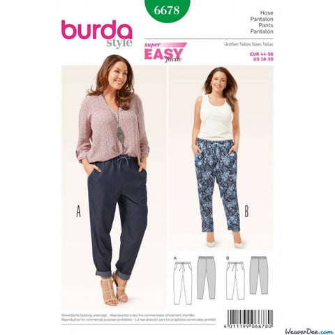 Burda - BD6678 Womens' Pants | Easy - WeaverDee.com Sewing & Crafts - 1