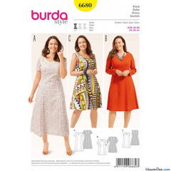 Burda - BD6680 Womens' Dress | Easy - WeaverDee.com Sewing & Crafts - 1
