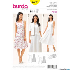 Burda - BD6687 Womens' Dress & Jacket - WeaverDee.com Sewing & Crafts - 1