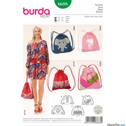 Burda - BD6688 Bags - WeaverDee.com Sewing & Crafts - 1