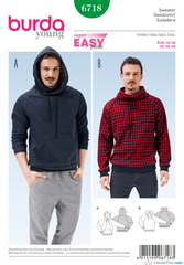 Burda - BD6718 Men's Pullover Hoodie - WeaverDee.com Sewing & Crafts - 1