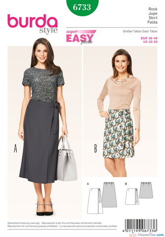 Burda - BD6733 Misses' Wrap Skirt | Easy - WeaverDee.com Sewing & Crafts - 1