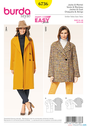 Burda - BD6736 Misses' Jackets & Coats - WeaverDee.com Sewing & Crafts - 1