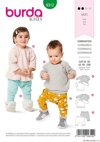 Burda Pattern BD9312 Toddler Top & Trousers