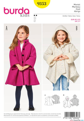 Burda Pattern BD9353 Child's A-Line Coat