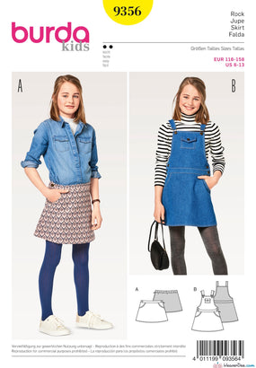 Burda Pattern BD9356 Girl/Girl Plus Skirt