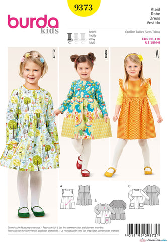 Burda - BD9373 Girl's Dress | EASY - WeaverDee.com Sewing & Crafts - 1