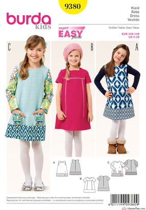 Burda - BD9380 Girl's Dress | EASY - WeaverDee.com Sewing & Crafts - 1