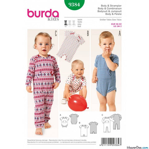 Burda - BD9384 Babies Bodysuit & Rompers | Easy - WeaverDee.com Sewing & Crafts - 1