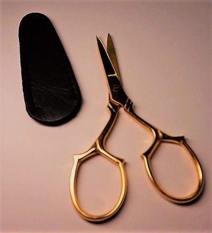 Gold Plated Embroidery Scissors 9cm With Leather Holster