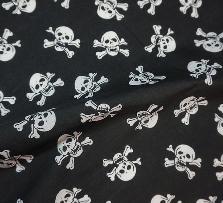 Poly Cotton Fabric - Skull & Crossbones (White on Black)