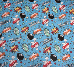 Poly Cotton Fabric - BOOM POW WOW