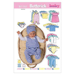 Butterick - B5585 Infants' Jacket, Dress, Top, Romper, Diaper Cover & Hat - WeaverDee.com Sewing & Crafts - 1