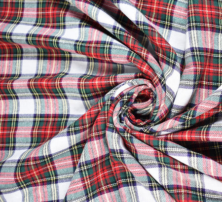 Check Brushed Cotton Fabric (Red / White)