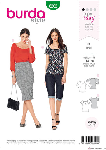 Burda Pattern BD6202 Misses' Top with Raglan Sleeves –  Ballet Scoop Neck