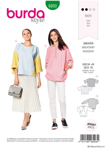 Burda Pattern BD6203 Misses' Sweatshirt – T-Line – with Interesting Seam Lines