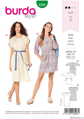 Burda Pattern BD6206 Misses' Casual Dress with Raglan Sleeves –  Drawstring Waist