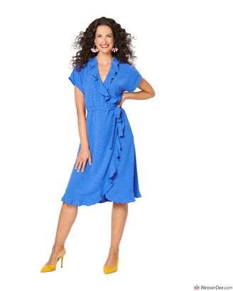 Burda Pattern BD6207 Misses' Wrap Dress with Tie Bands –  Hem and Neckline Flounces
