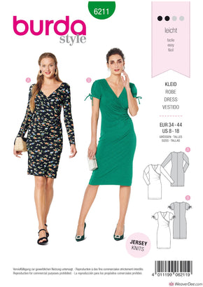 Burda Pattern BD6211 Misses' Dress in Wrap Look – Figure Fitting