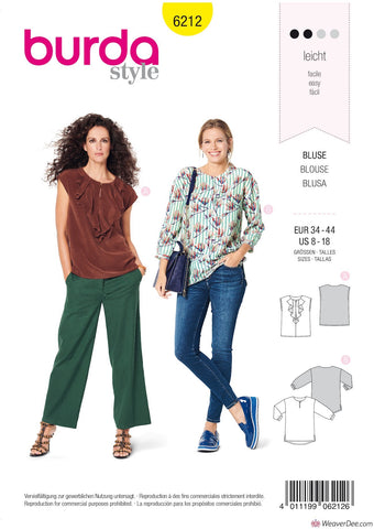 Burda Pattern BD6212 Misses' Blouse with Neckline Flounce – Straight Cut