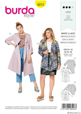 Burda Pattern BD6213 Women's Jacket & Coat