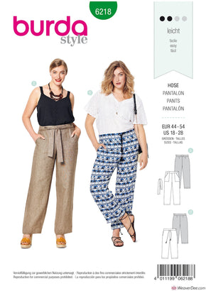 Burda Pattern BD6218 Women's Straight Leg Trousers with Patch Pockets
