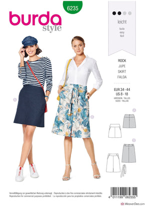 Burda Pattern BD6235 Misses' Skirt with Yoke – Hip Yoke Pockets