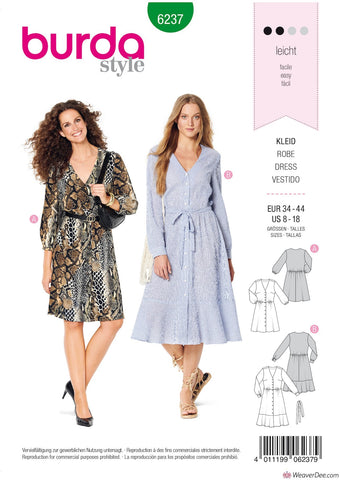 Burda Pattern BD6237 Misses' Dress with Button Fastening – Shirt Blouse Style – V-Neck